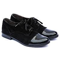 Туфли из натуральной замши и лаковой кожи