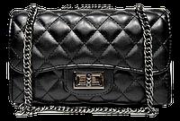 Шикарная женская сумочка из искусственной кожи черного цвета стеганая KSY-100441