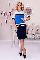 Вязане жіноче плаття з кольоровими вставками.Розмір 44-48