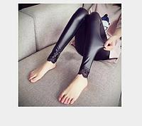 Женские кожаные лосины с кружевами Арт.CZ801