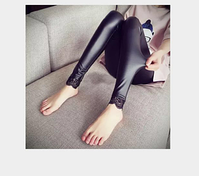 Женские кожаные лосины с кружевами Арт.CZ801, фото 2
