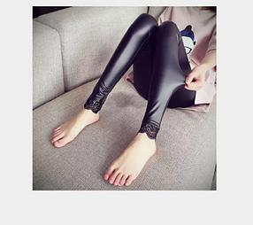 Подростковые  кожаные лосины с кружевами Арт.CZ801, фото 2