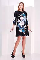 Платье в цветочек с поясом магнолии черное с синим