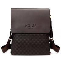 Качественная кожаная сумка Polo Videng New Коричневый
