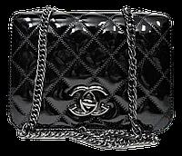 Лаковая женская сумочка черного цвета стеганая под Chanel KHH-109980