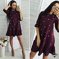 Модное женское бордовое свободное платье украшенное бусинками, пояс в комплекте. Арт-2036/50