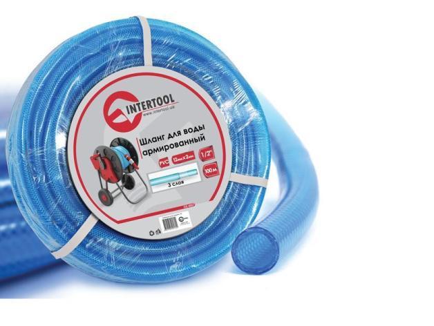 """Шланг поливочный """"Intertool"""" синий 3-х слойный арт. GE-4057 сечение 1/2"""", длина 100 м"""