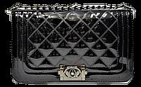Классическая лаковая женская сумочка черного цвета стеганая KHH-109000