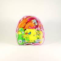 Набор детской посуды с продуктами в рюкзаке