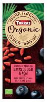Черный шоколад Torras ORGANIC Dark chocolate with goji beans and açaí powder 52% какао с ягодами годжи и асаи