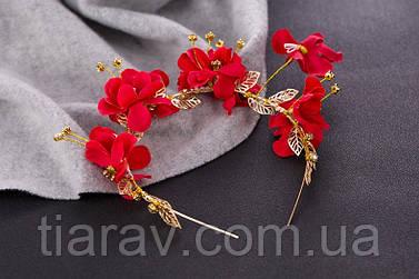 Обруч тиара веночек красные цветы Мари ободок для волос красный модные украшения