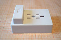 Розетка-адаптер для телефонной вилки белая на два гнезда RJ-12