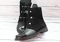 Модные женские ботинки, натуральная кожа+замша