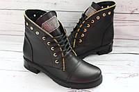Классные женские ботинки на шнуровке, натуральная кожа