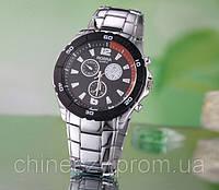 Мужские наручные кварцевые часы Rosra. Черный циферблат. Стальной браслет