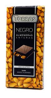 Чорний шоколад без глютену Torras Dark chocolate with whole almonds з мигдалем 200 г