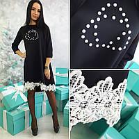 Красивое черное трикотажное  платье с белым кружевом. Арт-2038/50