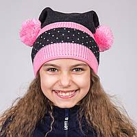 Весенняя шапка с помпонами для девочек модель 2017 - Артикул 1989