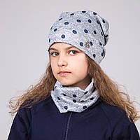 Весенний комплект в горошек из шапки и хомута для девочки - Артикул 2009
