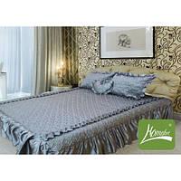 Покрывало 180 х 210 с подушками + подушка сердце (атлас) серебро