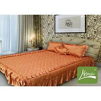 Покрывало 180 х 210 с подушками + подушка сердце (атлас) коричнево-золотой