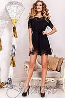 Женская черная туника Санти_1 Jadone Fashion 50-56 размеры