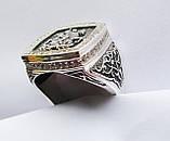 Печатка мужская серебряная Георгий Победоносец с камнями 700190, фото 3