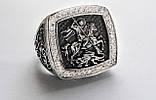 Печатка мужская серебряная Георгий Победоносец с камнями 700190, фото 2