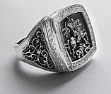 Печатка мужская серебряная Георгий Победоносец с камнями 700190, фото 4