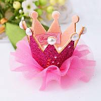 Корона детская заколка для волос ярко розовая