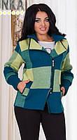 Женская куртка на молнии в крупную клетку с отложным воротником плотная вязка с отделкой из эко кожи батал