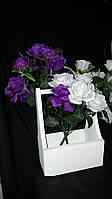 Красивые букетики роз с фатином (с добавками), выс.57 см., 10шт., 41 гр./шт.