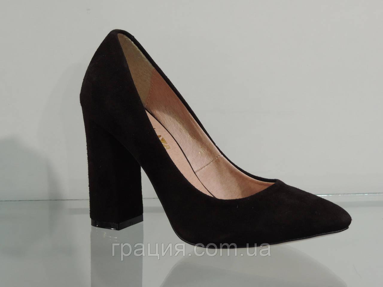 Туфлі жіночі замшеві натуральні на високому каблуці