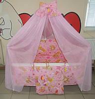 Детское постельное белье в кроватку розовое Мишка с шариками Gold 9 в 1