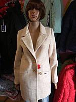 Пальто бежевое крупное букле