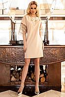 Бежевое платье-туника Кобби_1 Jadone Fashion 50-56 размеры