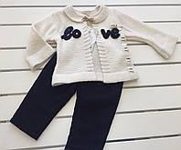 Детский костюм - кофта , брюки для девочки на 3-12 месяцев