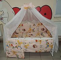 Комплект постельного белья для новорожденного бежевое Зайчик  Bonna 9 в 1