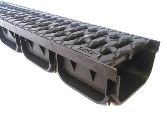 Лоток водоотводящий пластиковый с решеткой пластиковой кл. А (комплект)  Spark ЛВ-10.14.07-ПП