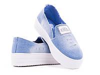 Женские джинсовые модные слипоны оптом от фирмы Violeta 4-209Lt.Blue (6пар, 36-41)