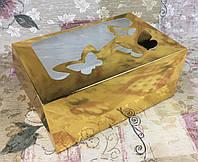 Коробка Золото для 6-ти кексов с окном Бабочка для капкейков, маффино 250*170*110 (с окошком)
