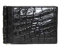 Зажим для денег из натуральной кожи крокодила, цвет черный, фото 1