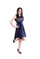 Платье коктейльное  Валентино крем-синий