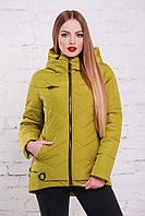 Молодежная женская куртка Линда. Коллекция: весна  2018г. Цвет: зеленое яблоко.