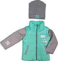 Куртка - жилетка с капюшоном + ШАПКА В ПОДАРОК демисезонная на девочку мята размер 98 104 110 116 122 128