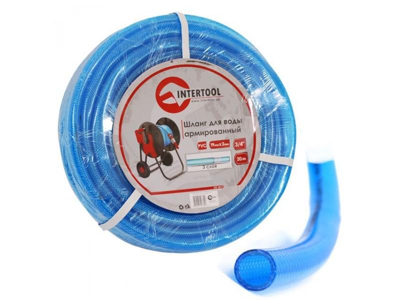 """Шланг поливочный """"Intertool"""" синий 3-х слойный арт. GE-4073 сечение 3/4"""", длина 20 м"""