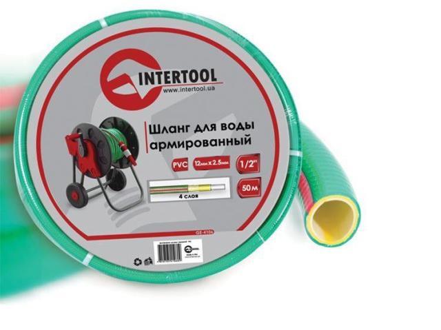 """Шланг поливочный """"Intertool"""" салатовый  4-х слойный арт. GE-4106 сечение 1/2"""", длина 50 м"""