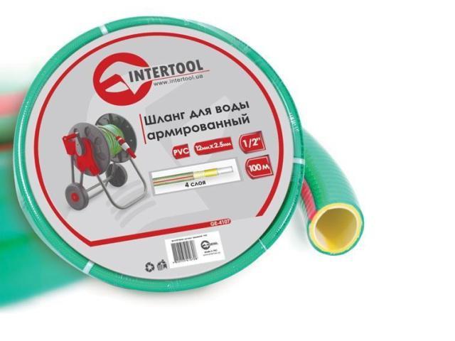 """Шланг поливочный """"Intertool"""" салатовый  4-х слойный арт. GE-4107 сечение 1/2"""", длина 100 м"""
