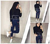 Женские модные джинсы с вышивкой и высокой посадкой
