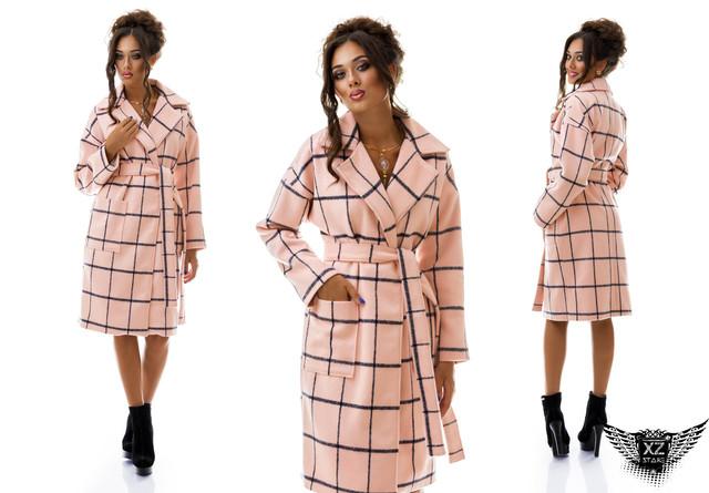 Фотография Пальто женское кашемировое средней длины халат в клетку с поясом А1  цвета пудры, черное, темно-синее, &n